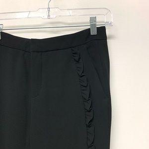 Zara side frill black trousers